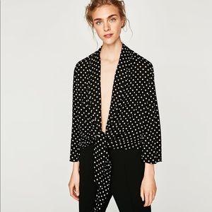 Zara Black and White Polka Dot Blazer